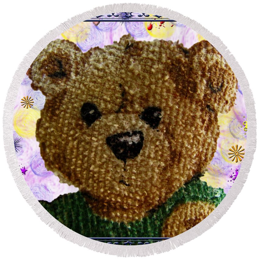 Teddy Bear Round Beach Towel featuring the photograph Ted E. Bear by Debbie Portwood
