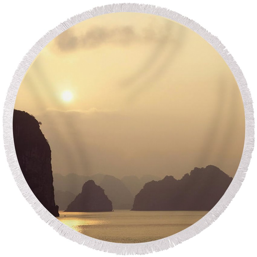 Asia Round Beach Towel featuring the photograph Temple At Sunset In Halong Bay by Skip Nall