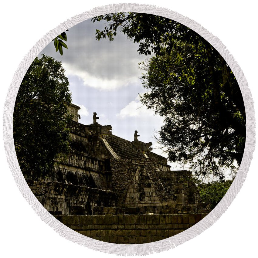 Chichen Itza Round Beach Towel featuring the photograph Temple Of The Warriors Two by Ken Frischkorn