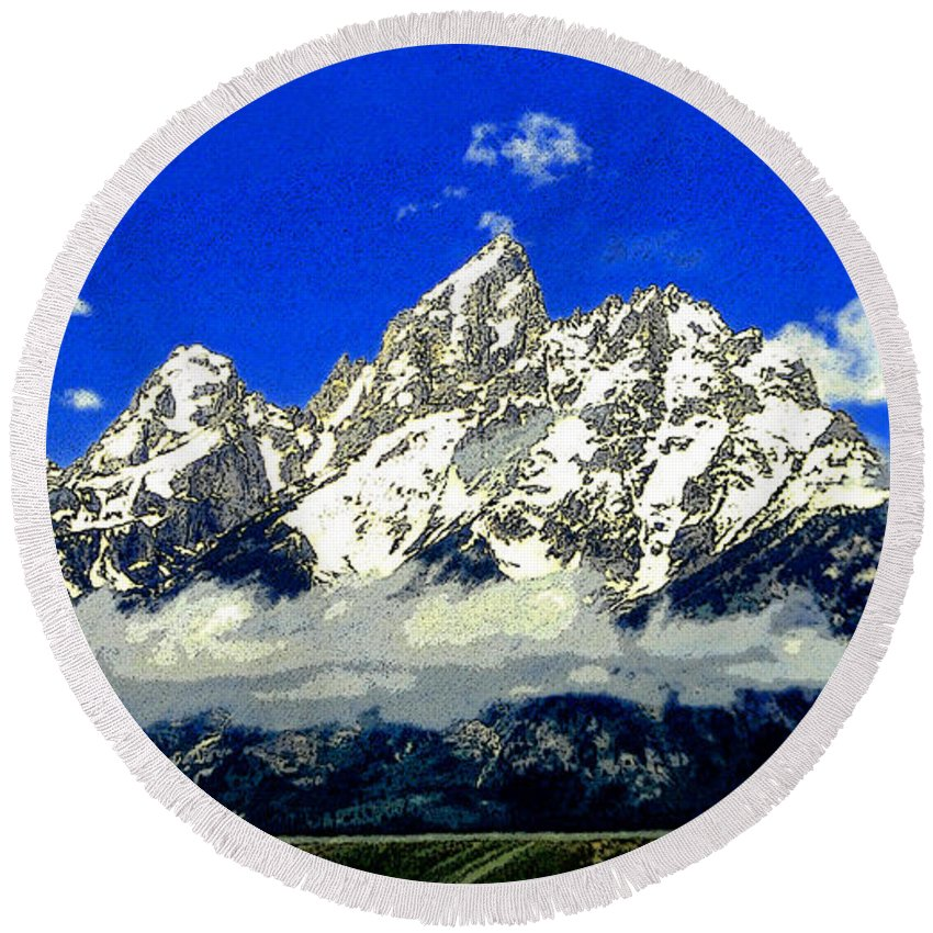 Art Round Beach Towel featuring the painting Tetons by David Lee Thompson