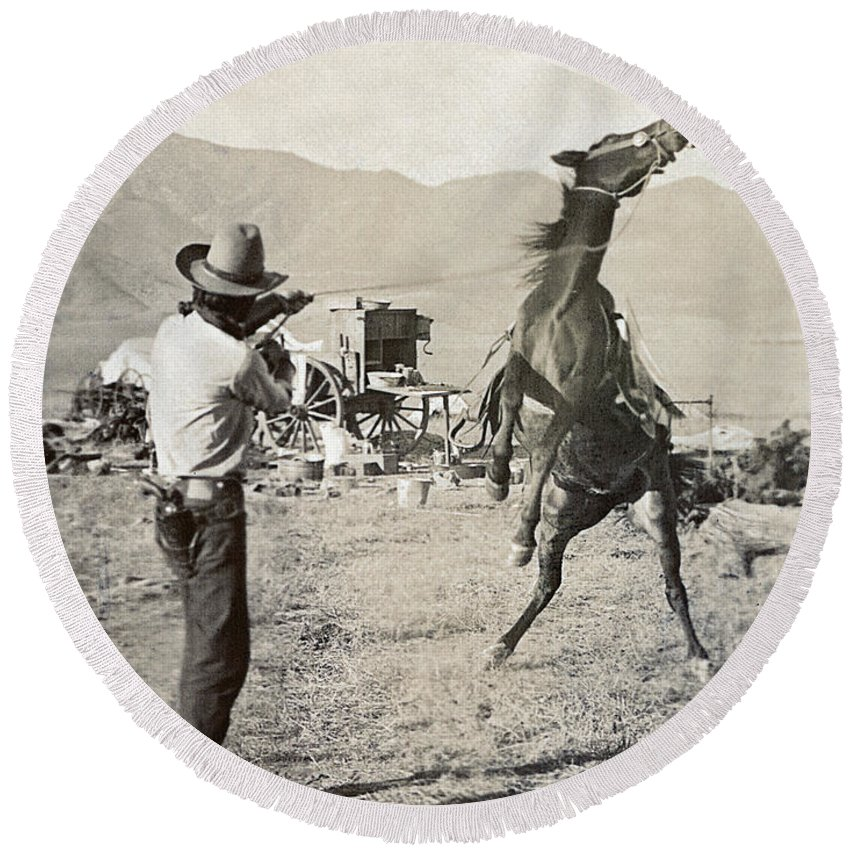 1910 Round Beach Towel featuring the photograph Texas: Cowboy, C1910 by Granger