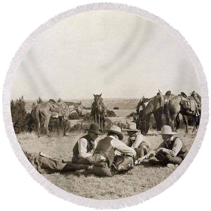 1906 Round Beach Towel featuring the photograph Texas: Cowboys, C1906 by Granger