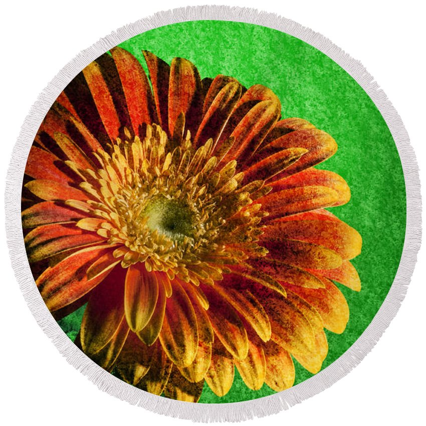 Abstract Round Beach Towel featuring the photograph Textured Orange Flower by Nathan Wright