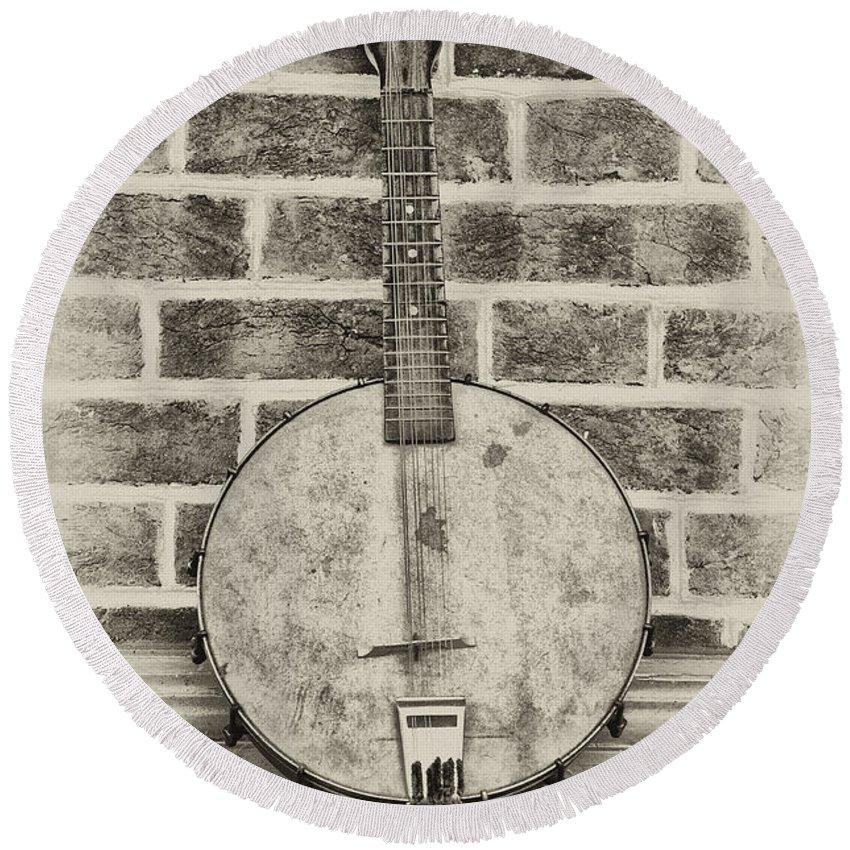 That Old Banjo Mandolin Round Beach Towel featuring the photograph That Old Banjo Mandolin by Bill Cannon
