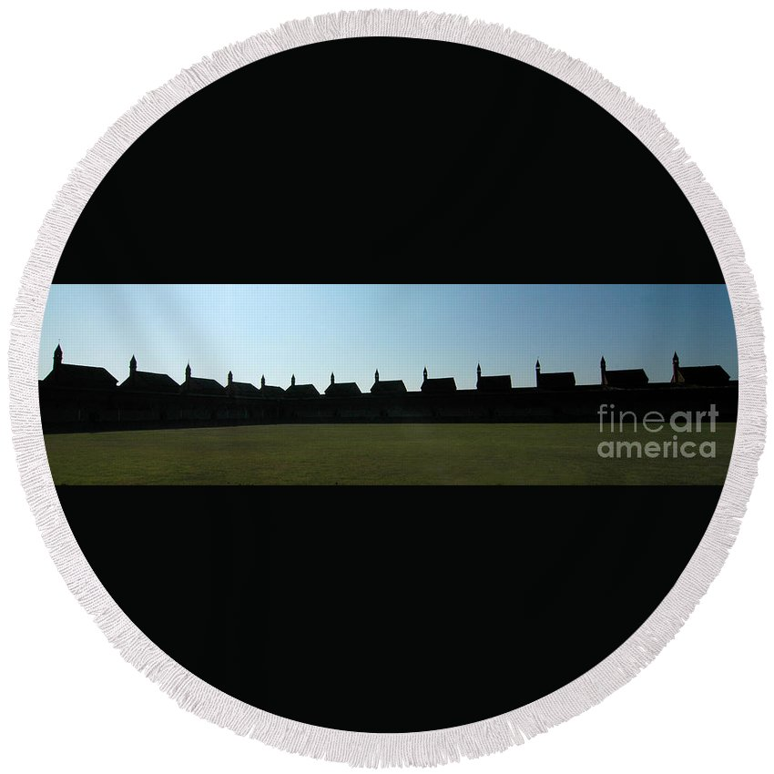 Abbey Round Beach Towel featuring the photograph The Abbey by Mike Nellums