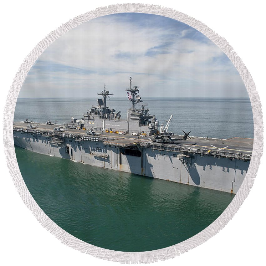 Uss Wasp Round Beach Towel featuring the photograph The Amphibious Assault Ship Uss Wasp by Stocktrek Images