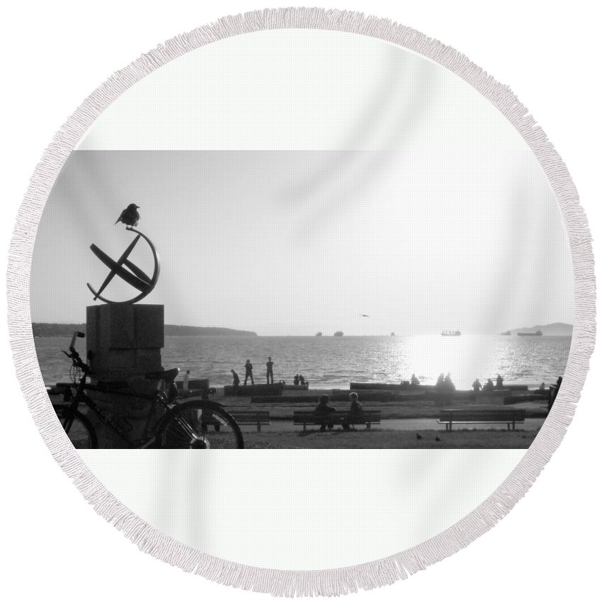 Black And White Round Beach Towel featuring the photograph The Ancient Observer by Trance Blackman