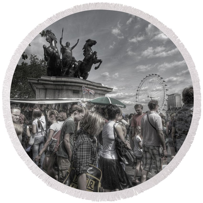 Yhun Suarez Round Beach Towel featuring the photograph The Attack Of The Zombie Tourists by Yhun Suarez