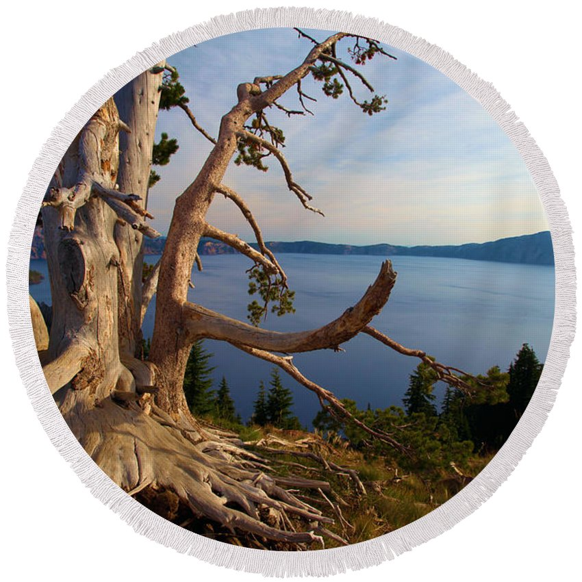 Crater Lake National Park Round Beach Towel featuring the photograph The Banks Of Crater Lake by Adam Jewell