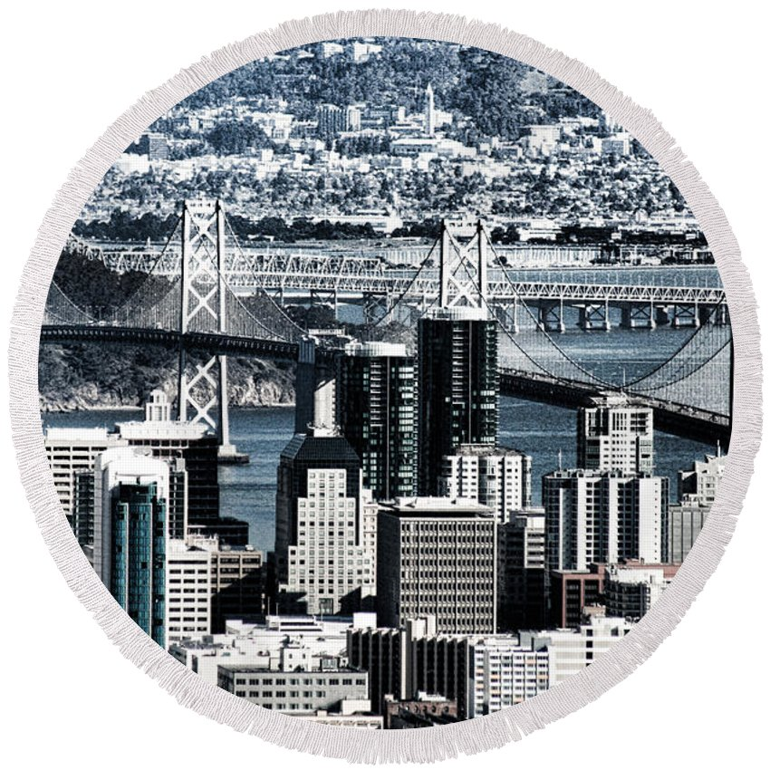 The Bay Bridge Round Beach Towel featuring the photograph The Bay Bridge by Douglas Barnard