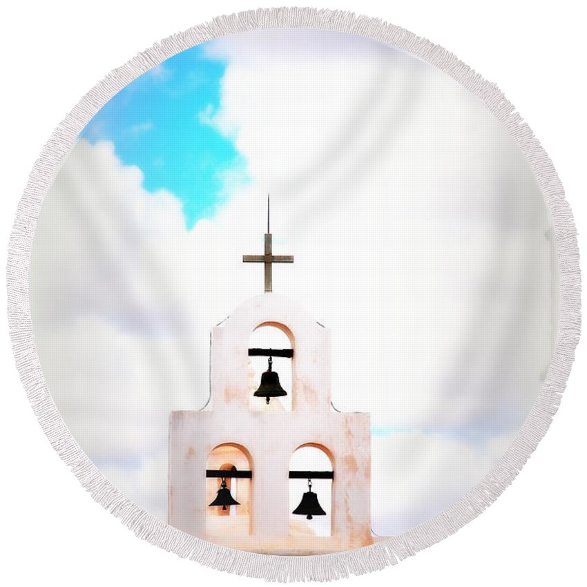 Chapel Round Beach Towel featuring the photograph The Belltower In Tuscon Az by Susanne Van Hulst