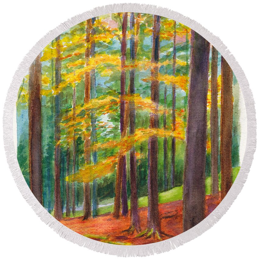 Forest Round Beach Towel featuring the painting The Black Forest At Hinterzarten by Dai Wynn