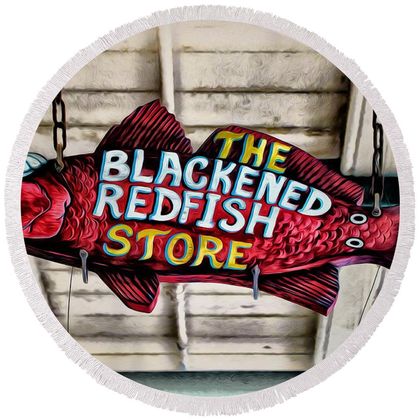 The Blackened Redfish Store Round Beach Towel featuring the photograph The Blackened Redfish Store by Bill Cannon