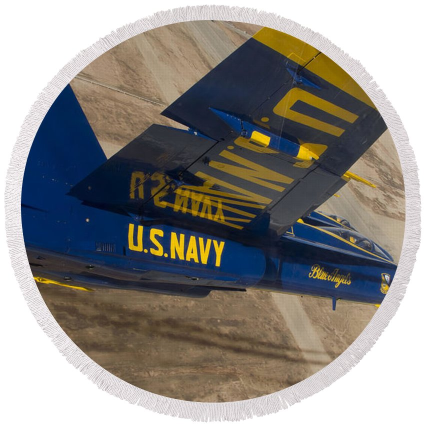 Military Round Beach Towel featuring the photograph The Blue Angels Perform Over El Centro by Stocktrek Images