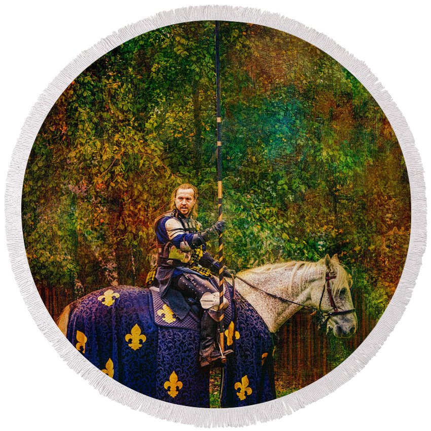 Knight Round Beach Towel featuring the photograph The Blue Knight by Chris Lord