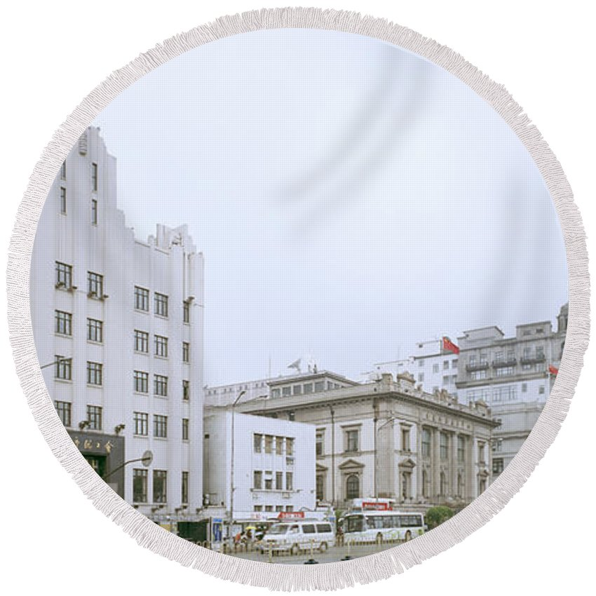 China Round Beach Towel featuring the photograph The Bund In Shanghai In China by Shaun Higson