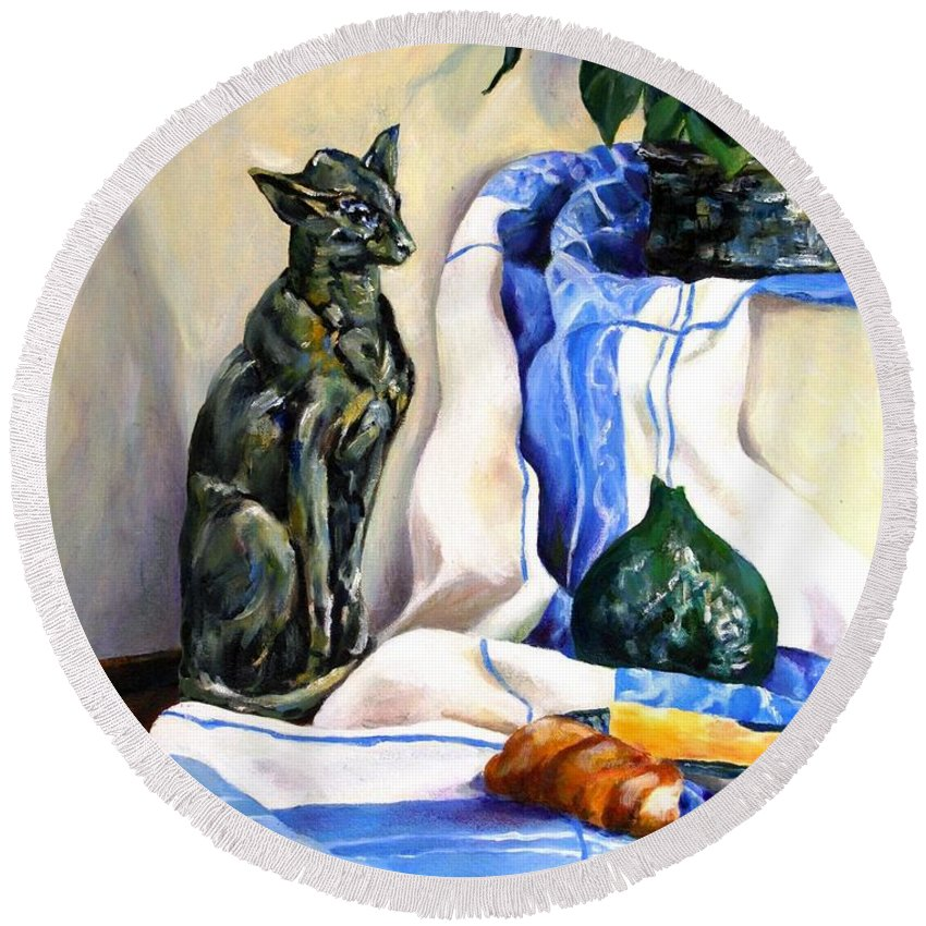 Still Life Round Beach Towel featuring the painting The Cat And The Cloth by Jolante Hesse