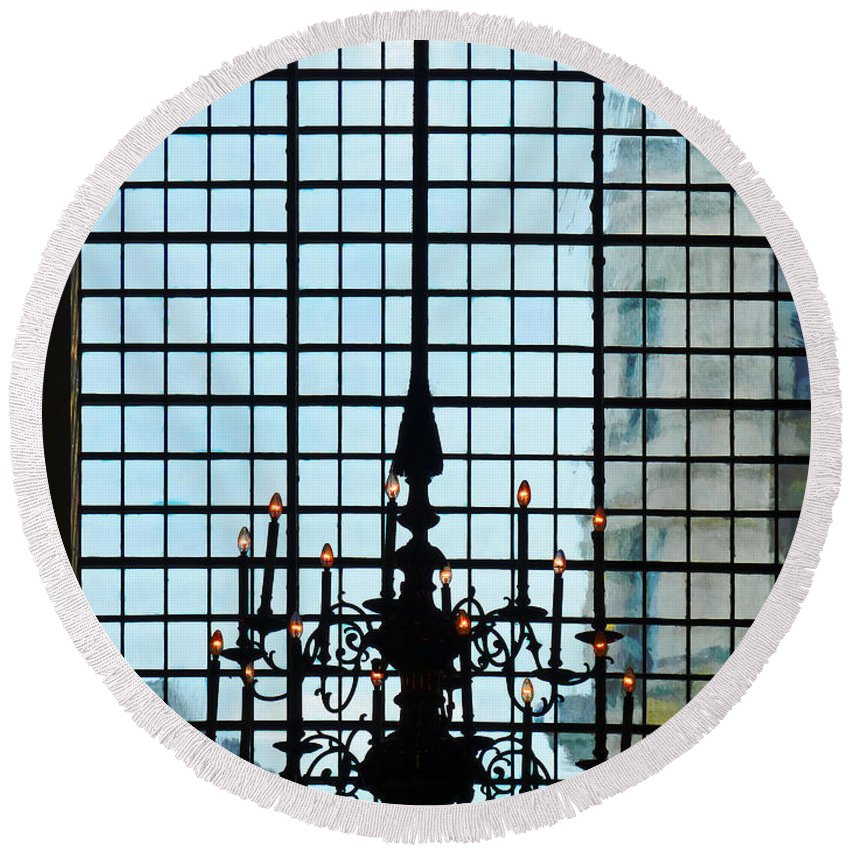 Chandelier Round Beach Towel featuring the photograph The Cathedral Chandelier by Steve Taylor