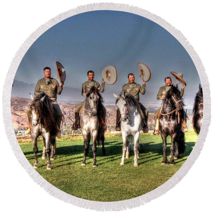 Mexico Round Beach Towel featuring the photograph The Charros by Tommy Anderson