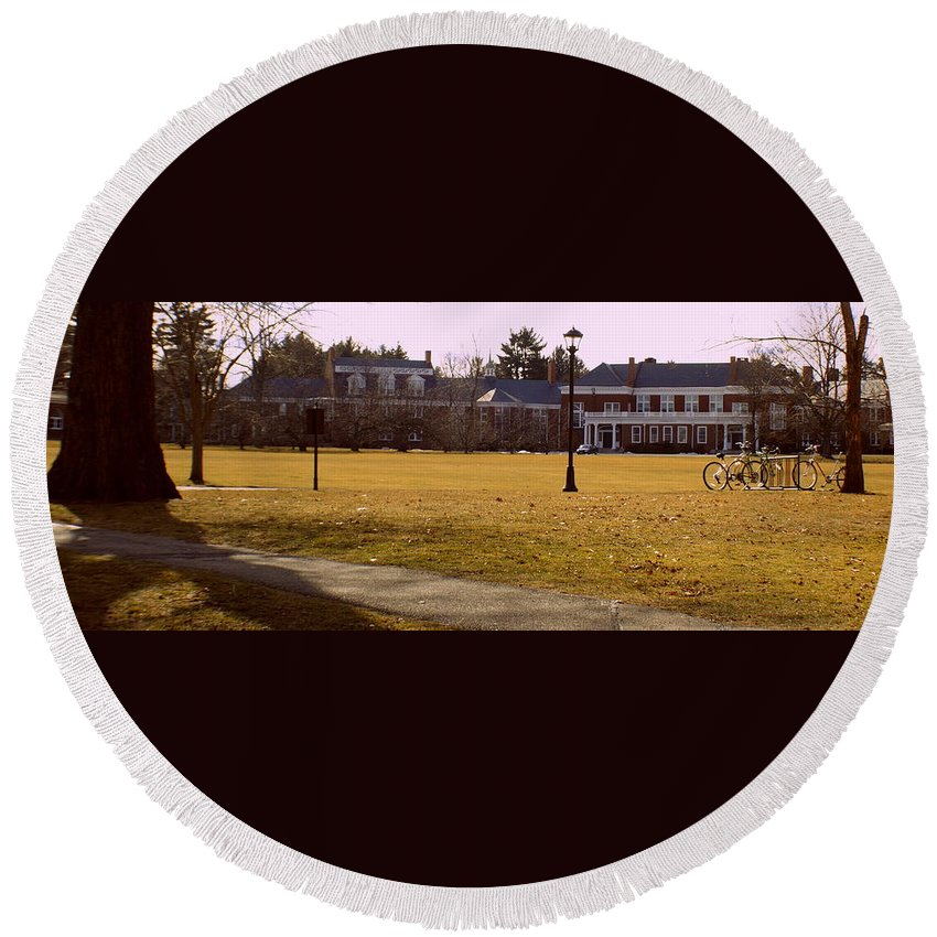 Groton School Round Beach Towel featuring the photograph The Circle by Marysue Ryan