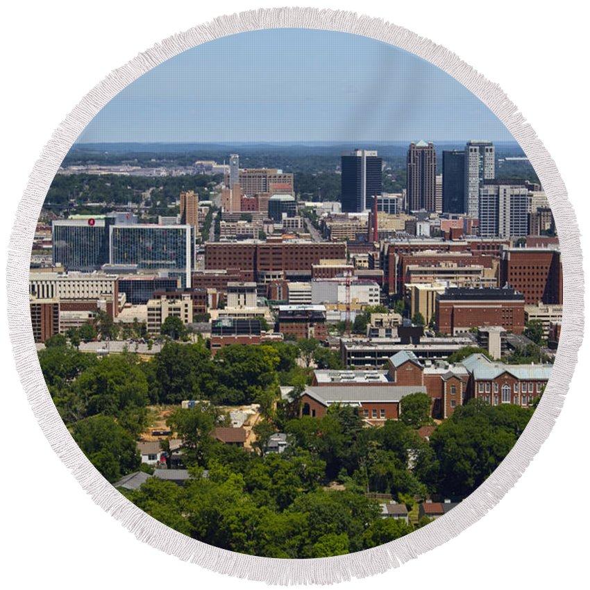 Birmingham Round Beach Towel featuring the photograph The City Of Birmingham Alabama Usa Vertical by Kathy Clark
