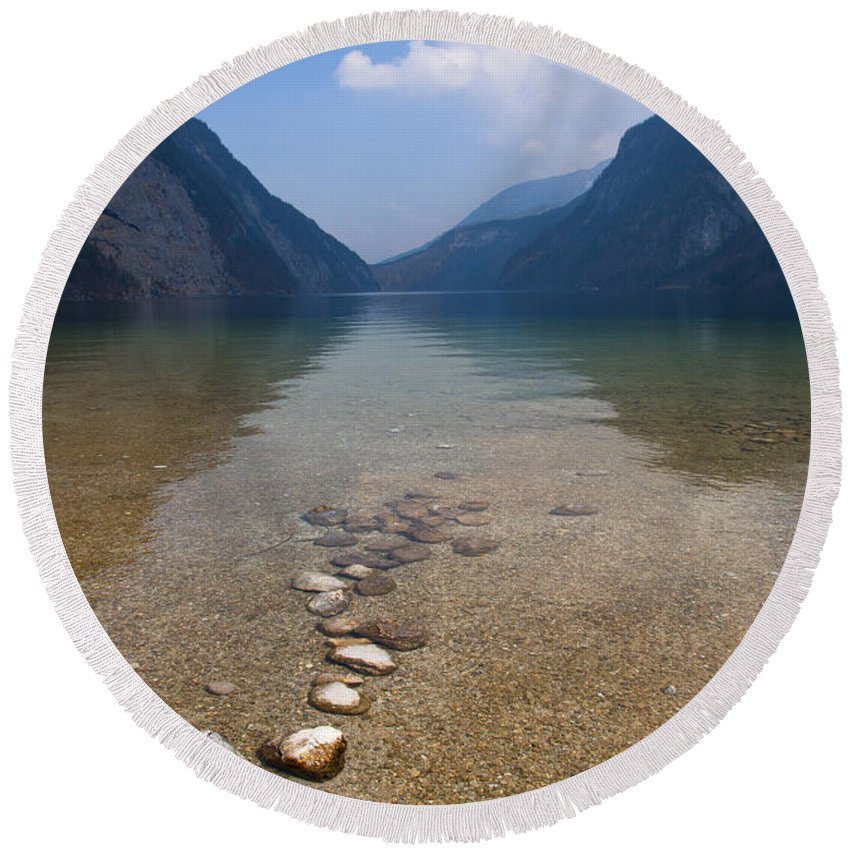 Alps Round Beach Towel featuring the photograph The Clear Waters Of King's Lake by Andrew Michael