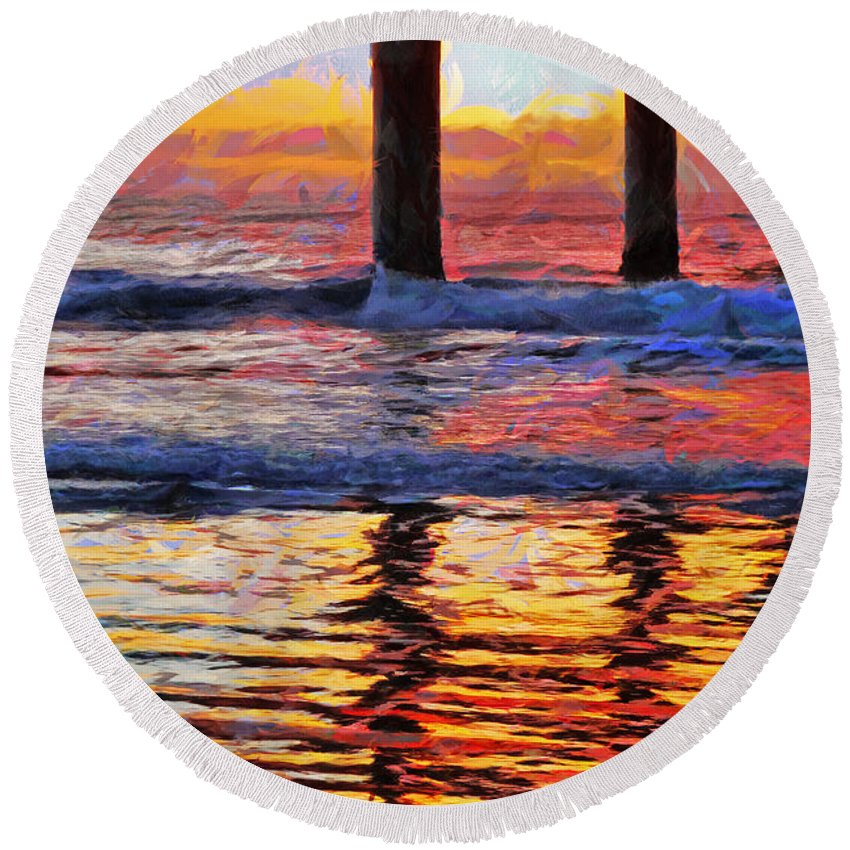 Multicolour Round Beach Towel featuring the photograph The Colours Of Dawn by Steve Taylor