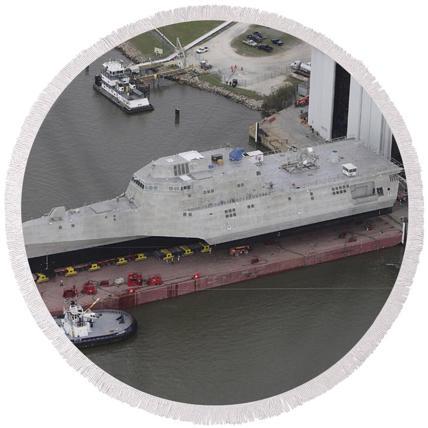 No People Round Beach Towel featuring the photograph The Coronado Littoral Combat Ship by Stocktrek Images