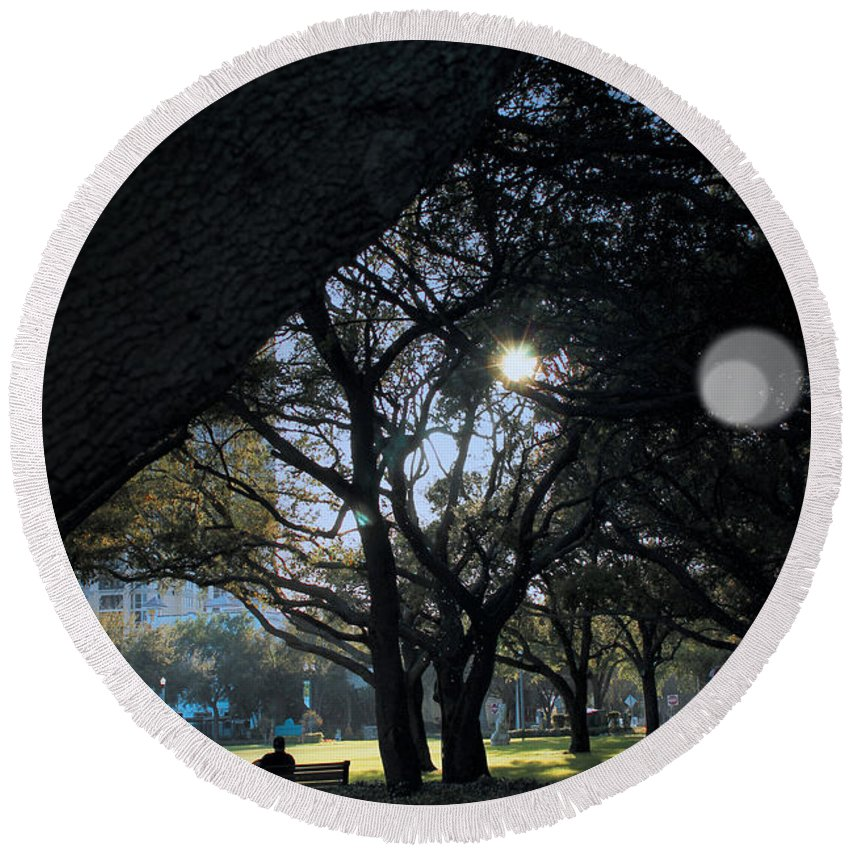 Tree Round Beach Towel featuring the photograph The Day's Reflection Limited Edition Bodecoarts by Robin Lewis