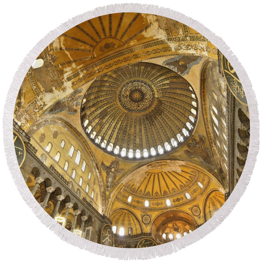 Europe Round Beach Towel featuring the photograph The Dome Of Hagia Sophia by Michele Burgess