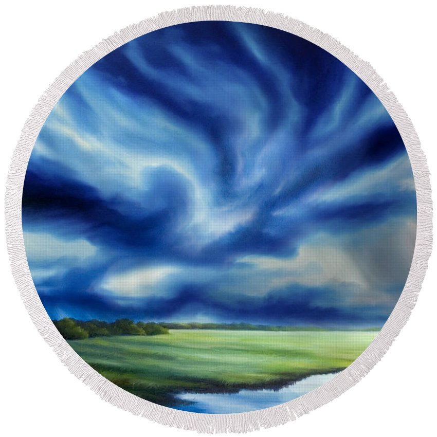 Nature; Lake; Sunset; Sunrise; Serene; Forest; Trees; Water; Ripples; Clearing; Lagoon; James Christopher Hill; Jameshillgallery.com; Foliage; Sky; Realism; Oils; Moon; Moonlight; Reflection; Blue; Lapis; Storm; Dragon; Round Beach Towel featuring the painting The Dragon Storm by James Christopher Hill