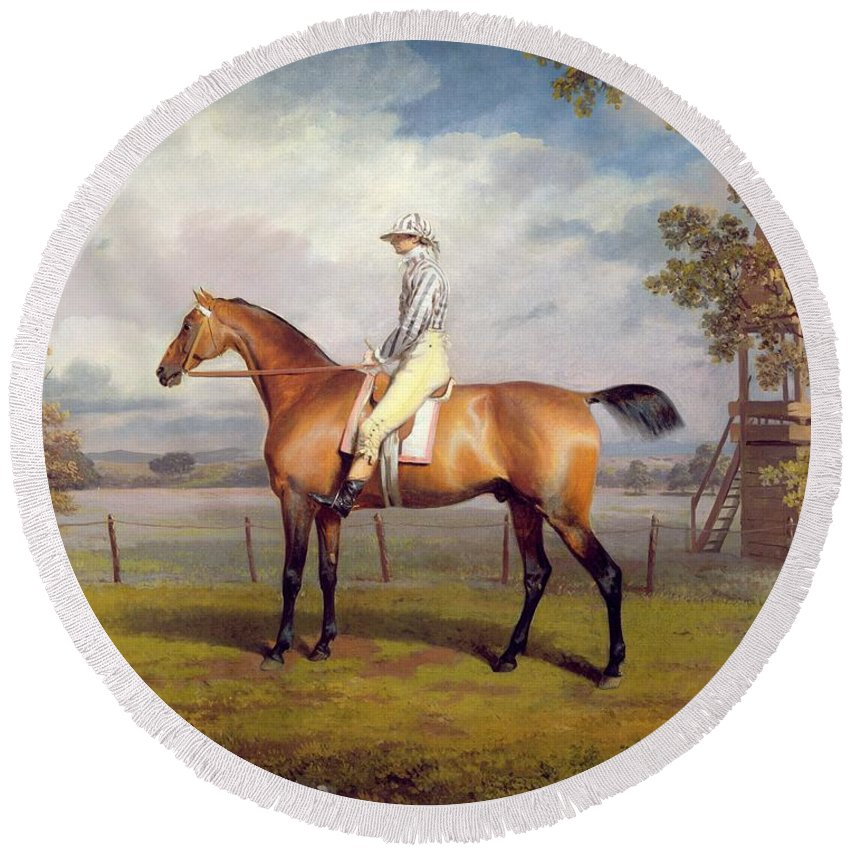 The Round Beach Towel featuring the painting The Duke Of Hamilton's Disguise With Jockey Up by George Garrard