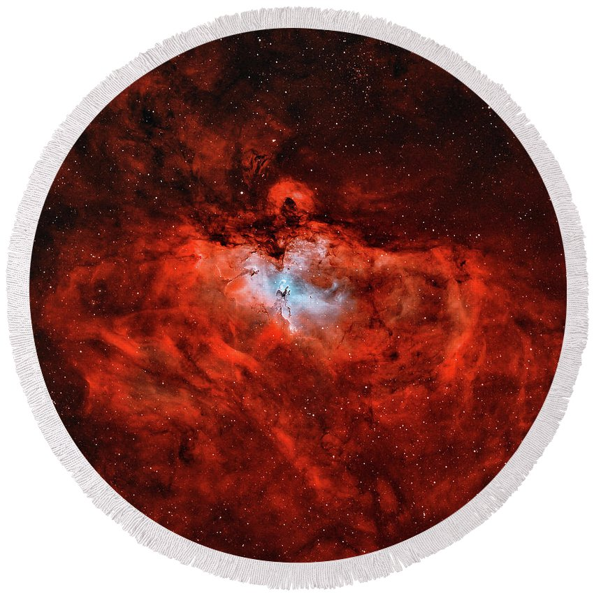 Square Image Round Beach Towel featuring the photograph The Eagle Nebula In The Constellation by Rolf Geissinger