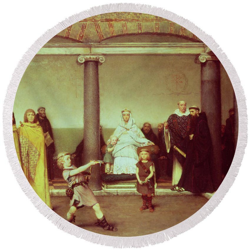 The Round Beach Towel featuring the painting The Education Of The Children Of Clothilde And Clovis by Sir Lawrence Alma-Tadema