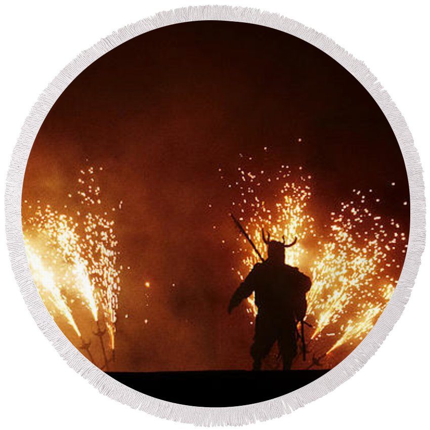 Fuego Round Beach Towel featuring the photograph The Emergence Of The Devil by Agusti Pardo Rossello