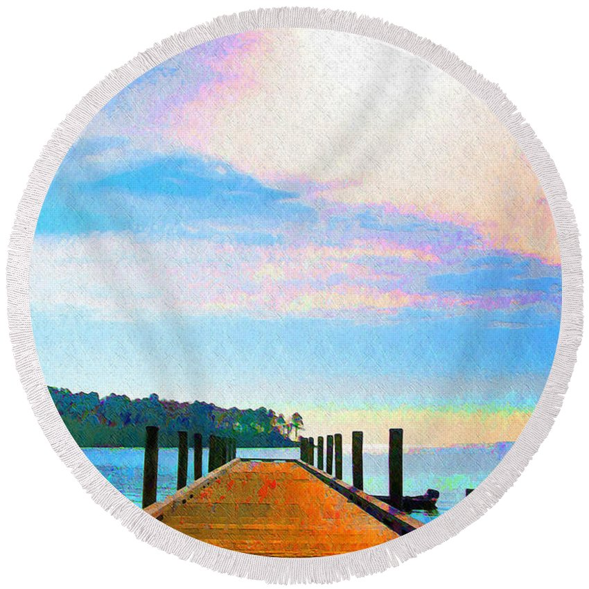 Sunset Round Beach Towel featuring the photograph The End Of A Good Day by Bill Cannon