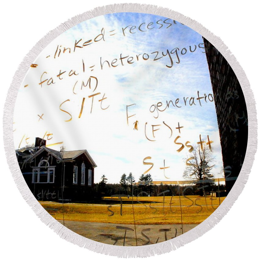 Groton School Round Beach Towel featuring the photograph The Equation by Marysue Ryan