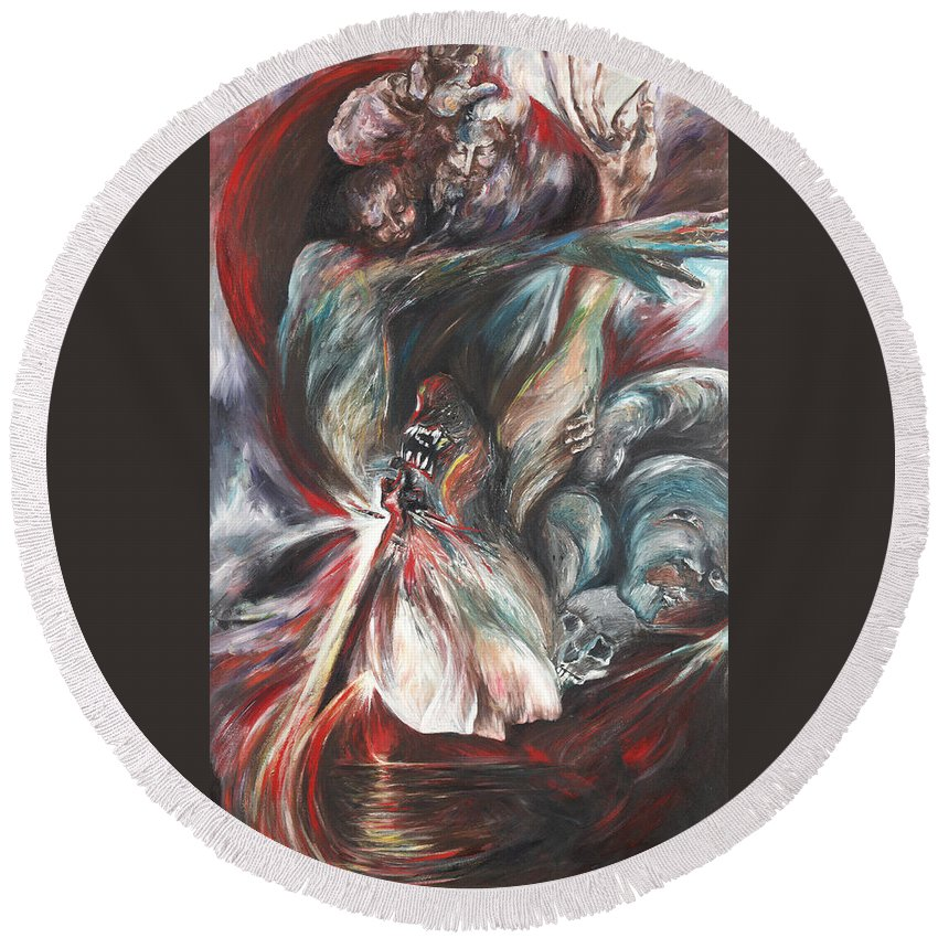 Suicide Round Beach Towel featuring the painting The Falling Figure by Francine Mabie