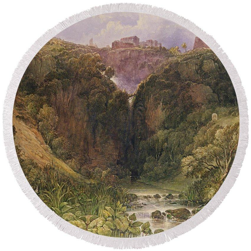 The Falls Of Tivoli Round Beach Towel featuring the painting The Falls Of Tivoli by William Wyld