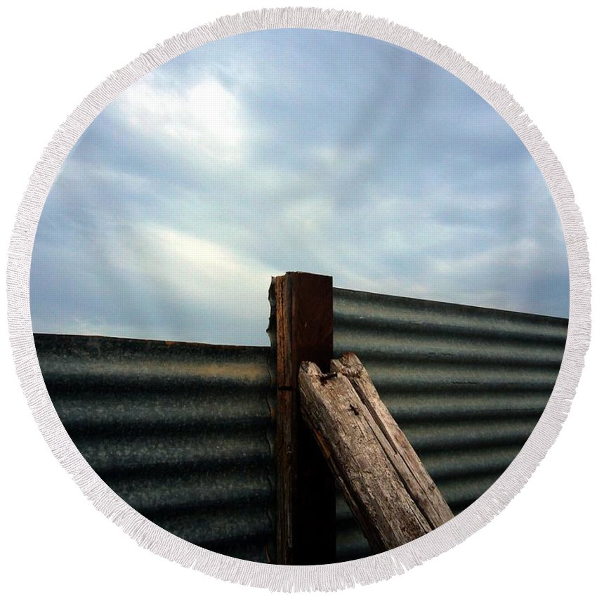 Rimini Round Beach Towel featuring the photograph The Fence The Sky And The Beach by Andy Prendy