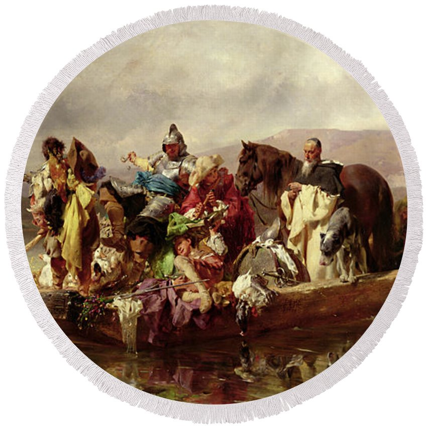The Round Beach Towel featuring the painting The Ferry by Johann Till