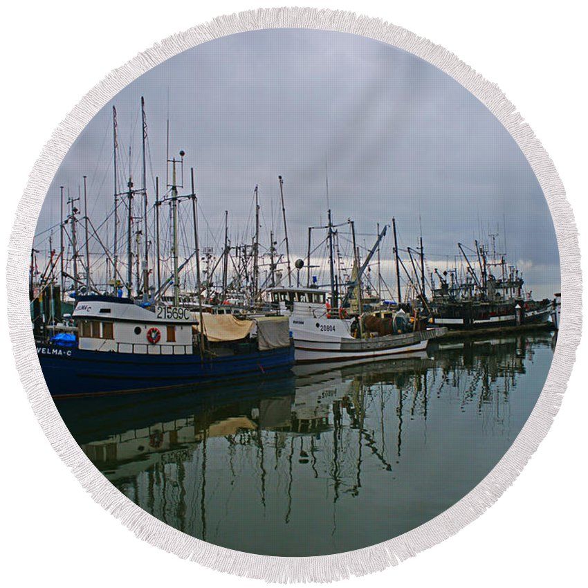 Fishing Boats Round Beach Towel featuring the photograph The Fishing Fleet by Randy Harris