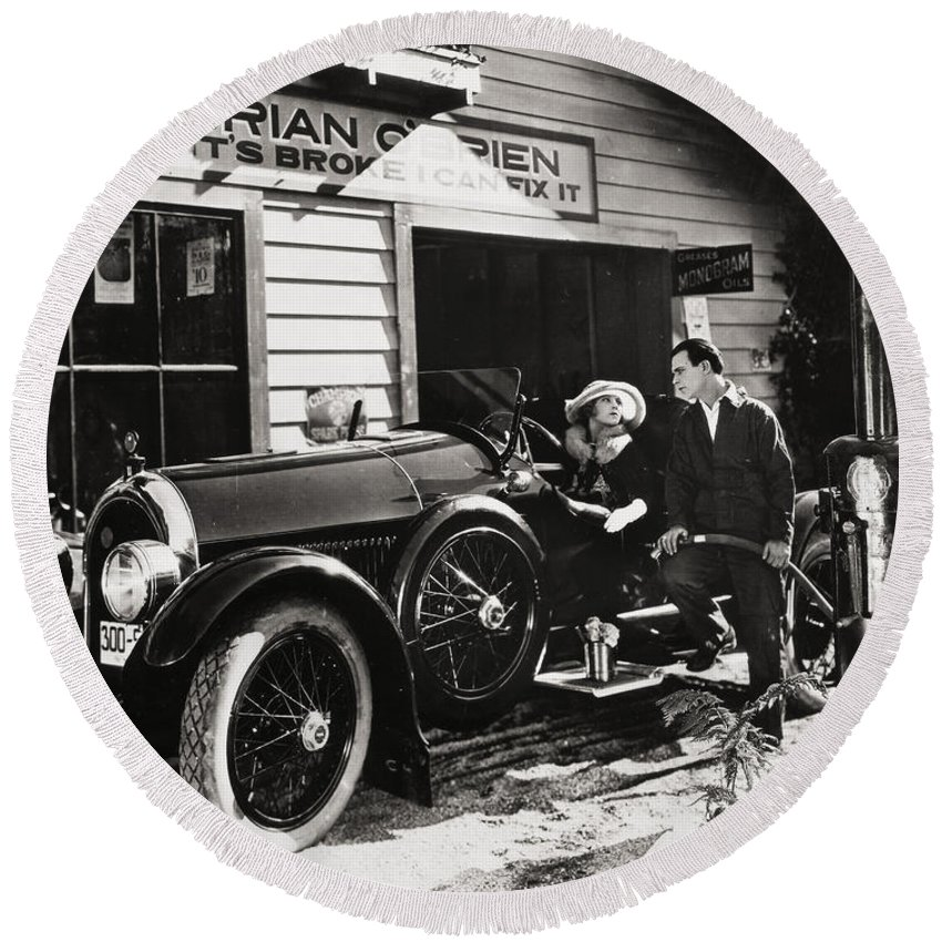 -transportation: Automobiles- Round Beach Towel featuring the photograph The Fourth Musketeer, 1923 by Granger