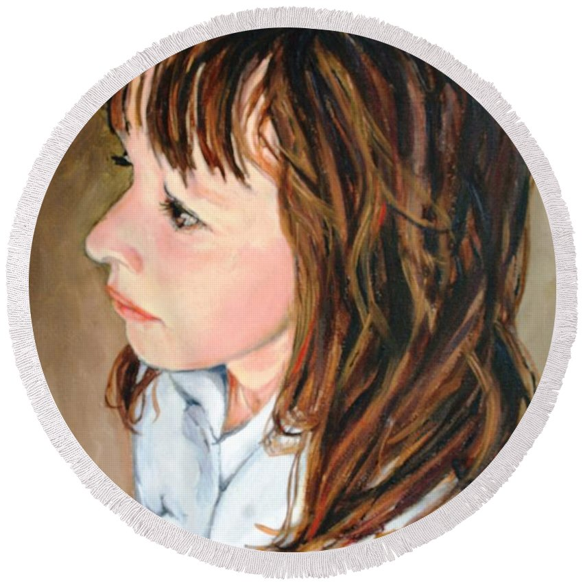 Girl Portrait Round Beach Towel featuring the painting The French Girl by Jolante Hesse