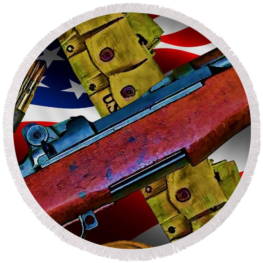 M-1 Garand Round Beach Towel featuring the digital art The Garand by Tommy Anderson