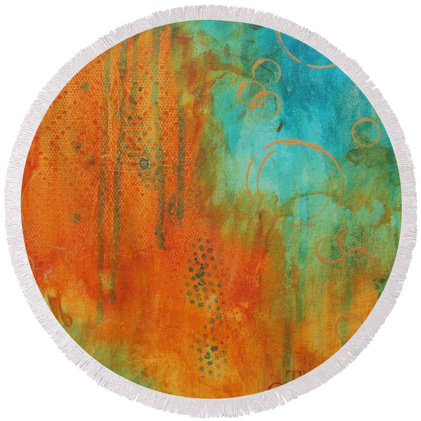 Abstract Painting Round Beach Towel featuring the painting The Garden by Nicole Nadeau