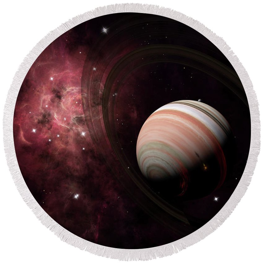 Artwork Round Beach Towel featuring the digital art The Gas Giant Carter Orbited By Its Two by Brian Christensen