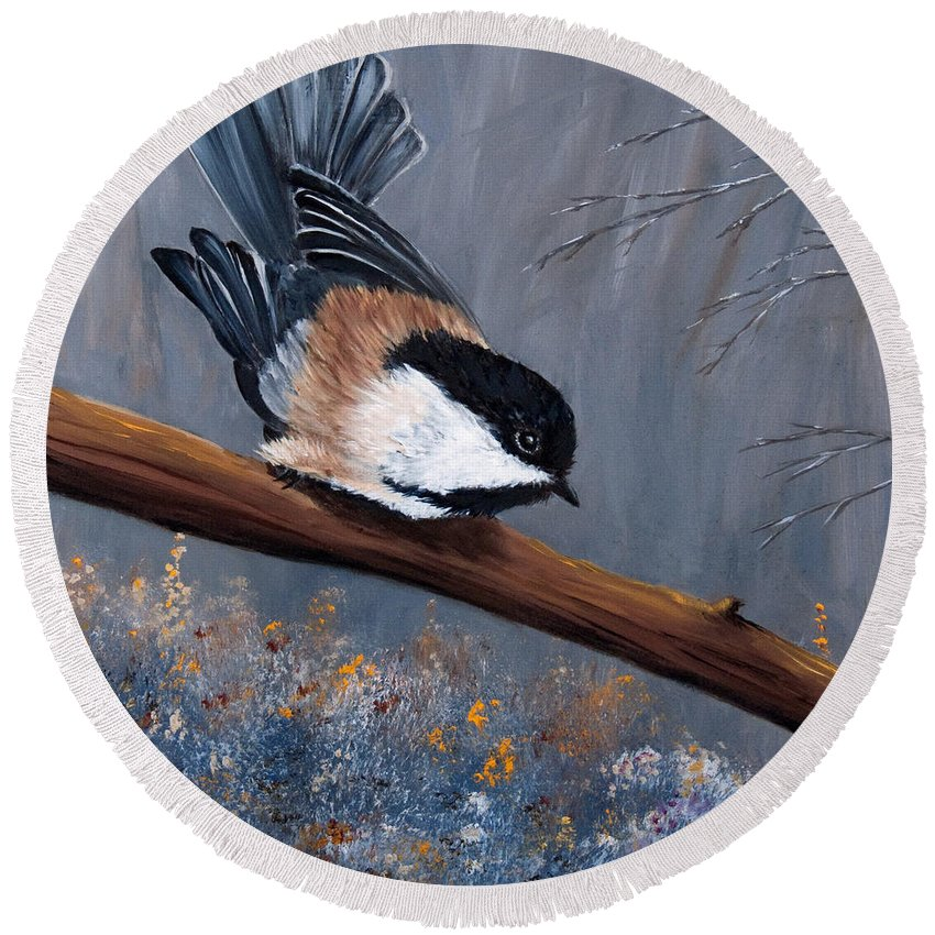 Chickadee Round Beach Towel featuring the painting The Gathering I by Dee Carpenter