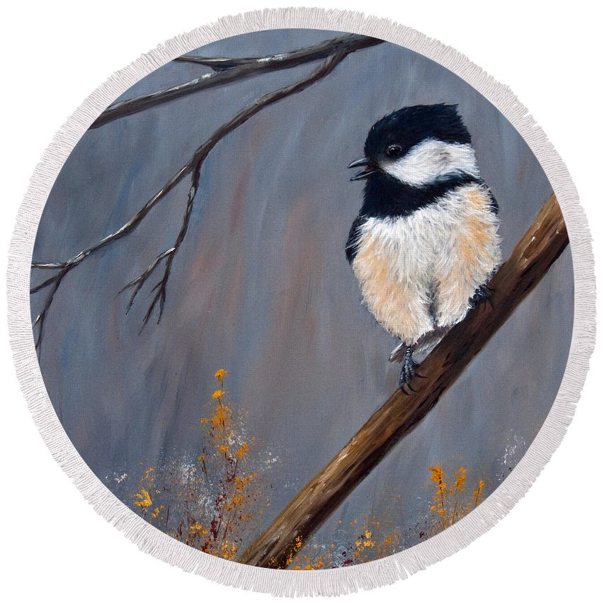 Chickadee Round Beach Towel featuring the painting The Gathering IIi by Dee Carpenter