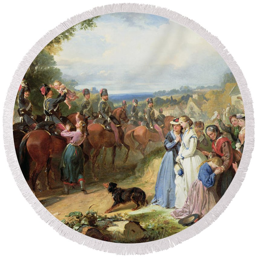 Army; Military; Soldiers; Hussar; Leaving; Farewell; Waving; Children; Raj; Wives; Dog; Landscape; Victorian; Weeping; Crying; Bravery; War; Sad; Family; Village; English; Soldier; Departing; Overseas; Journey; Girl; Crowd Round Beach Towel featuring the painting The Girls We Left Behind Us - The Departure Of The 11th Hussars For India by Thomas Jones Barker